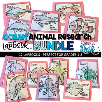 Ocean Animal BUNDLE Research Projects - Twelve Ocean Animal Research Lapbooks