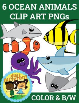 Ocean Animal Clipart Graphics Color Black/White PNG