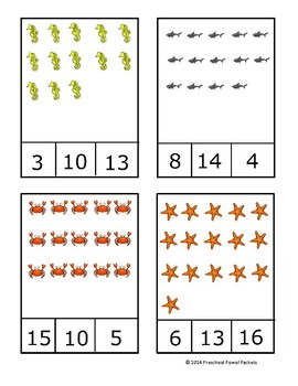 Ocean Animal Count and Clip Cards