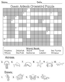 Ocean Animal Crossword Puzzle FREE