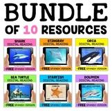 Ocean Animal Digital Reading Comprehension Bundle