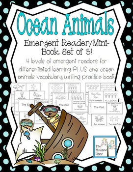 Ocean Animal Emergent Readers Mini Books Set Of 5