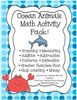 Ocean Animal Math Activity Set Pack