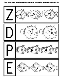 Ocean Animal Letter Matching:  Match Lowercase to Uppercase