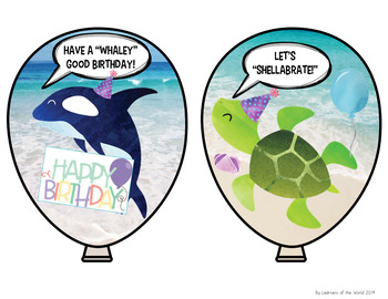 Ocean Animal Puns Birthday Balloons
