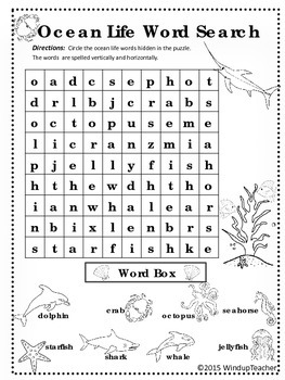 Ocean Animals Word Search * EASY