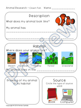 Ocean Animal Research: Description and Habitat Kindergarten
