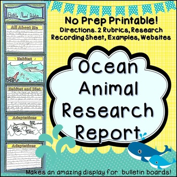 Ocean Animal Research Project and Expository Writing Practice