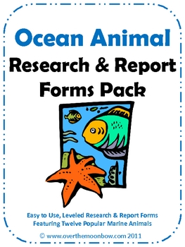 Ocean Animal Research & Report Forms Pack