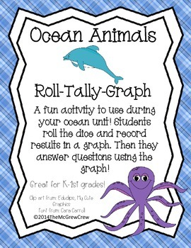 Ocean Animal Roll Tally Graph Math Activity Set