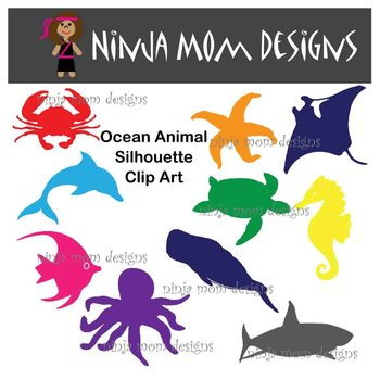 Ocean Animal Silhouette Clip Art in Color and Black