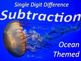 Single Digit Subtraction - Ocean Animal Worksheets - Horizontal(15 pages)