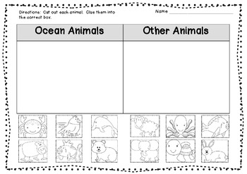 ocean animal sort freebie by amy lowes teachers pay teachers. Black Bedroom Furniture Sets. Home Design Ideas