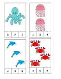 Ocean Animal Theme! Count and Clip Cards #1-19