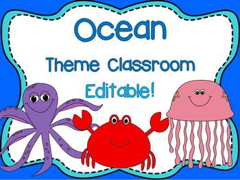 Ocean Animal Theme Signs, Binder Covers, Labels and Nameplates {Editable}