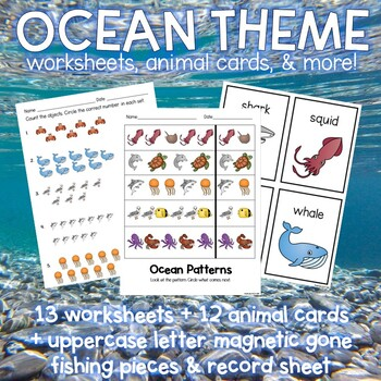 Ocean Animal Themed Phonics & Math Worksheets