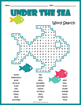 Ocean Animals Word Search Puzzle: Under the Sea