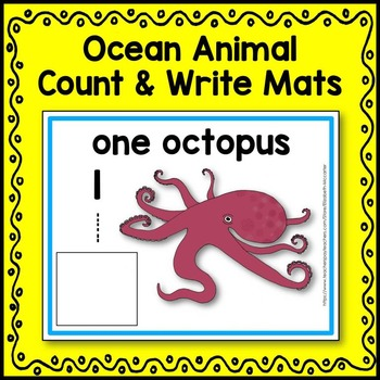 Ocean Animal Count and Write Mats
