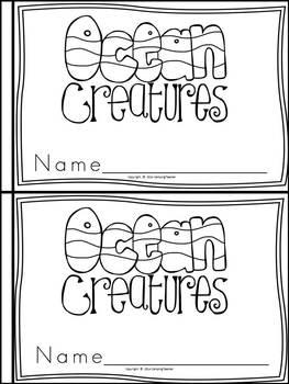 Ocean Animals Book for Kindergarten and 1st Grade {Block Print Style}