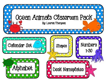Ocean Animals Classroom Decor Pack