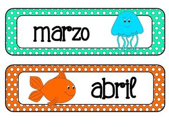 Ocean Animals Classroom Decor Pack - SPANISH
