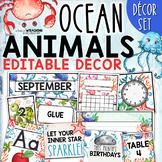 Ocean Animals Classroom Decor Set - EDITABLE
