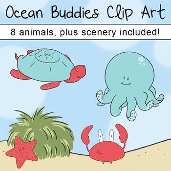 Ocean Animals Clip Art, Crab, Seahorse, Sea Turtle, Octopus, Jelly Fish Clipart