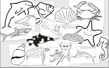 Ocean Animals Clip Art - black and white (15 pieces)