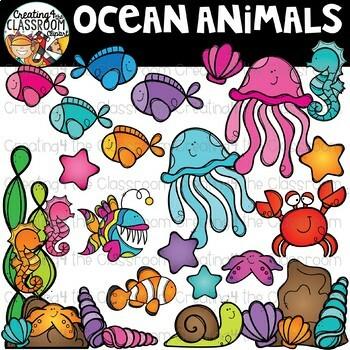 Ocean Animals Clipart Bundle {Ocean Clipart}