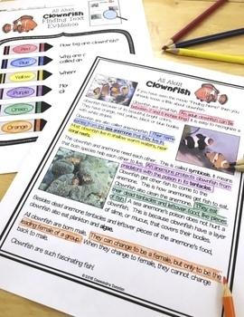 Ocean Animals Reading Freebie: Clownfish Nonfiction Reading Passage & Activities