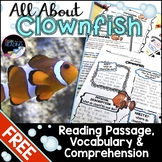Ocean Animals Reading Freebie: Clownfish Nonfiction Reading Passage & Activities