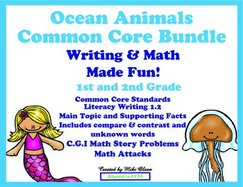 Ocean Animals Common Core Bundle Writing & Math