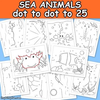 Ocean Animals Connect the Dots - Dot to Dot Worksheets Counting to 25