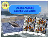 Ocean Animals Count and Clip Task Cards