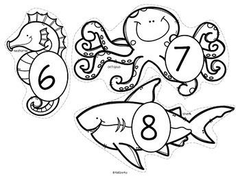 Ocean Animals Counting Centers 0-20 With 10-frames for Preschool & Kindergarten