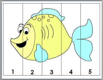 Ocean Animals Math - Number Puzzles 1-10