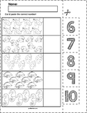 Ocean Animals Cut & Match Worksheets   Numbers 6-10