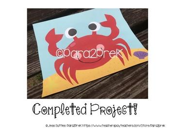 Ocean Animals Cut and Paste Craft Template - Crab