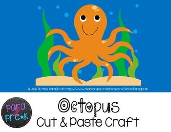Ocean Animals Cut and Paste Craft Template - Octopus