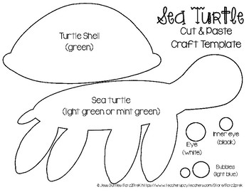 Ocean Animals Cut and Paste Craft Template - Sea Turtle