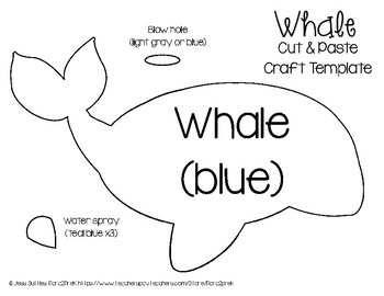 ocean animals cut and paste craft template whale by para2prek tpt