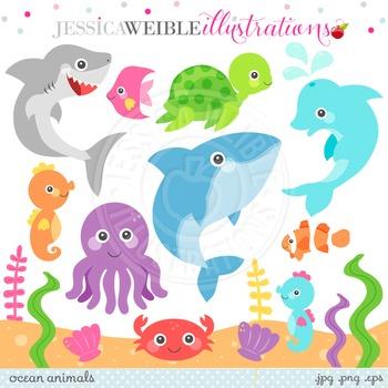 Ocean Animals Cute Digital Clipart, Underwater Animal Graphics