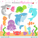 Ocean Animals Cute Digital Clipart, Underwater Animal Graphics