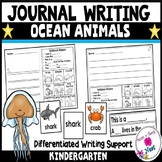 Kindergarten Journal Writing Differentiated Prompts- Ocean Animals
