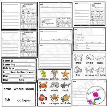 Kindergarten Journal Writing Differentiated Prompts- Ocean Animals