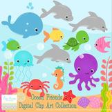 Ocean Animals Digital Clipart, clip art