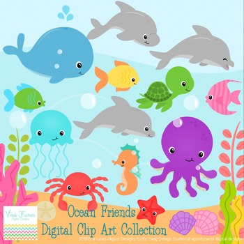 Ocean Animals Digital Clipart, clip art