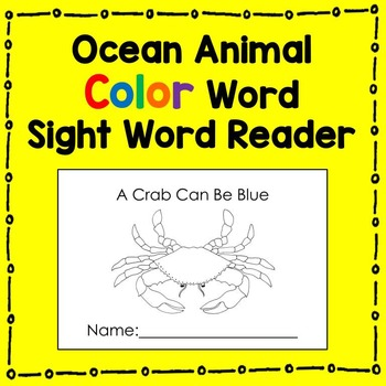 Ocean Animal Site Word Reader (color words) Literacy Center