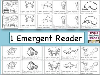 Ocean Animals Emergent Reader/Write the Room/Word Cards/Activity Sheets