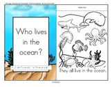 Ocean Animals Informative Reader plus Puppets, Vocabulary